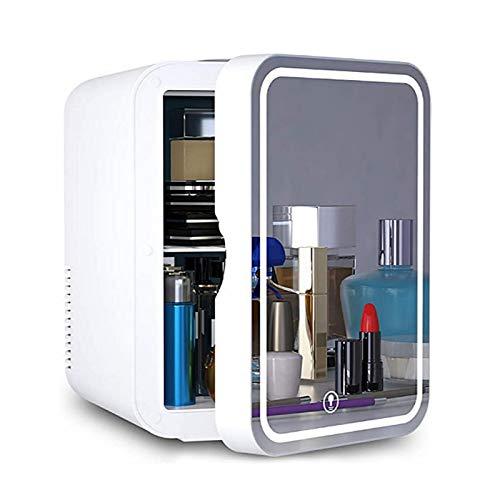 JTJxop Mini Nevera 6 litros Enfriador y Calentador Termoeléctrico Portátil De Belleza AC/DC para El Cuidado De La Piel, Dormitorio y Viajes (Diseño De Espejo y LED) Blanco