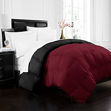 Beckham Hotel Collection 1700 Series Luxury Goose Down Alternative Reversible Comforter - Premium Hypoallergenic - All Season - Duvet - Full/Queen - Burgundy/Black