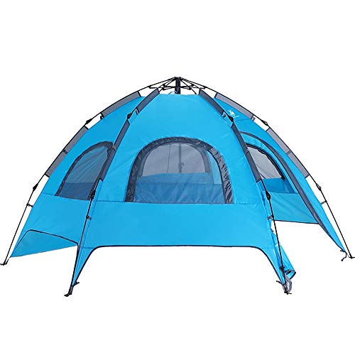 GFBVC Camping Tent Instant Pop Up Family Camping Tent Double Layer Waterproof for Picnic Fishing Hiking Traveling Blue (Color : Blue, Size : One Size)