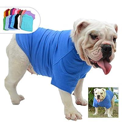 lovelonglong Bulldog Clothes Dog Clothing Blank T-Shirt Tee Shirts for French Bulldog English Bulldog American Pit Bull Pugs 100% Cotton Skin Care Blue B-M