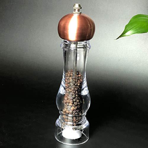Warm Room Peper- en pepermolenset, handmatige kunststof pepermolen, peper- en pepermolen, koper, goud, dik zout, keramiek, kruidenfles