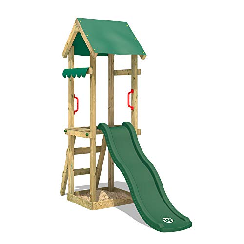 WICKEY Speeltoestel voor tuin TinySpot groen met schommel, Houten speeltuig, Speeltoren voor buiten met zandbak en klimladder voor kinderen