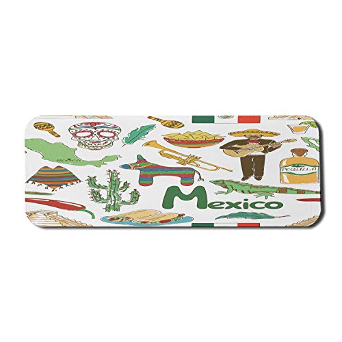 Mexikanische Computer Mauspad, lustige bunte Skizze Mexiko Chili Pyramide Nachos Kaktus Musik Poncho Muster, Rechteck rutschfeste Gummi Mousepad große mehrfarbig