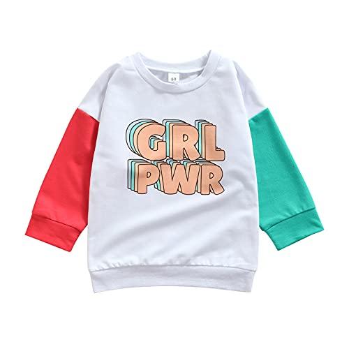 Sudadera de manga larga con estampado de letras y contraste de color de jersey Tops de otoño, blanco, 1-2 Años