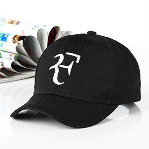 LinZX Hip Gorra de béisbol de algodón Roger Federer papá del Casquillo del Sombrero para los Hombres del Casquillo del Bordado 3D Snapback Unisex Hop F Sombreros de Verano Deportes KPOP Gorras,Black