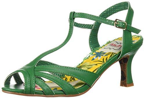 Bettie Page Women's BP300-LAYLA Heeled Sandal, Green, 9 B US
