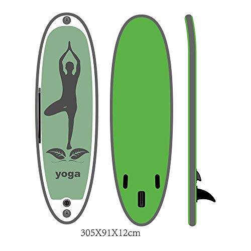 AJH Green Aufblasbares SUP Yoga Board SUP Surfbrett Stand Up Paddle Board Aufblasbares Surfbrett 305 x 91 x 12 cm Paddleboards der Familie zum Surfen