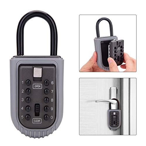 Key Lock Box,Realtor Key Lock Box Safe Lockbox 10-Digit Push Button Combination Safe Vault - Portable Outdoor Stor a Key - Door Handle or Fence Mount