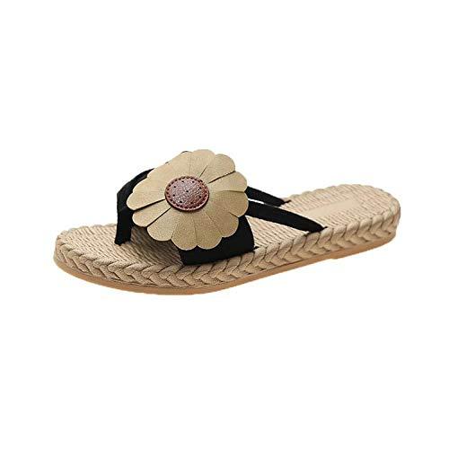bjyxszd Zapatillas de Estar por Casa Ultraligera,Zapatillas Planas Flor Clip Toe La Palabra Drag Beach Pool Slides Sliders Flip Flozs Casual Sports Sandalias al Aire Libre Zapatos-Negro_37