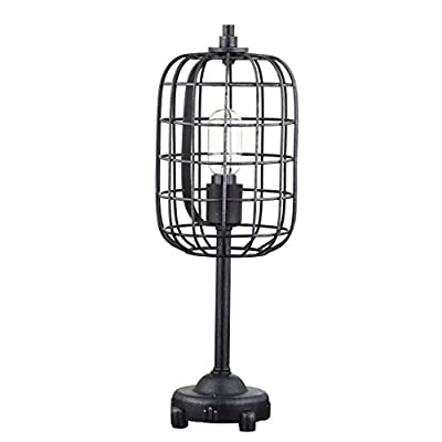 "Odette 20"" Industrial Metal Table Lamp, Black/Silver, Coastal, Bohemian, Bulb Included"