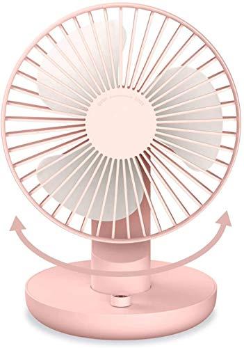 Xeples Batería del Ventilador de Escritorio Ventilador silencioso con Cabezal Ajustable para Uso en Exteriores en la Oficina doméstica-Rosado