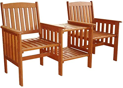 garden mile Hardwood Garden Love Seat Patio Companion Chair Outdoor Living Garden Patio Furniture Wooden Chairs 2 Seater with Table