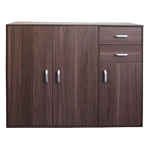 Redstone Sideboard Highboard Kommode Nussbaum Dunkel Standschrank Mehrzweckschrank Schrank - 3 Türen + 2 Schubladen - Holz