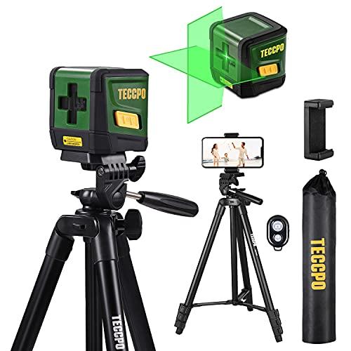 TECCPO Lightweight Phone Tripod Stand, Aluminum DSLR Travel Tripod, Bluetooth Remote,Portable Universal Clip + Laser Level, Self Leveling, Green Cross Line Laser, 50ft Laser Tool
