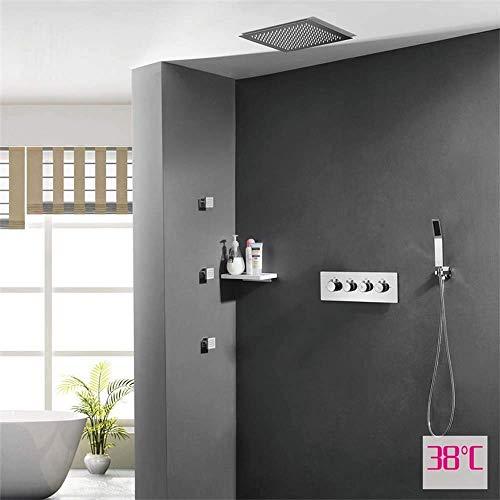 Manyao Válvula de control oscura en la pared de la ducha del interruptor Conjunto caliente y frío encajado tres Función de elevación de la ducha de cobre 180 ° de rotación bajo el agua de pulverizació