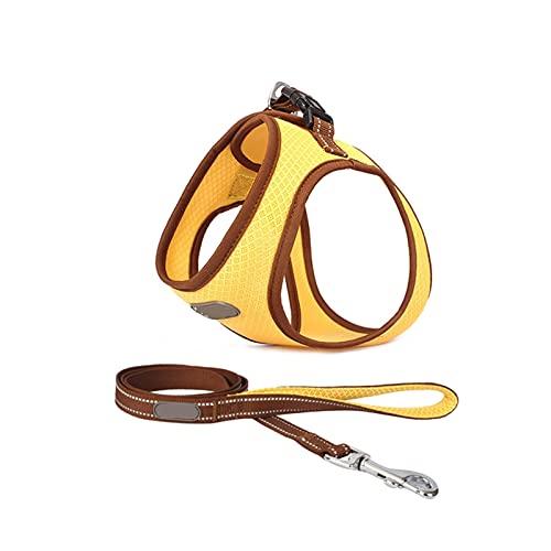 PXBHD Arnés para Perros Pequeños Y Medianos Y Arnés De Gato De Correa, Malla Transpirable, Arnés De Mascotas Ajustables, Collar De Chaleco De Gato De Cachorro (Color : Yellow, Size : XS)