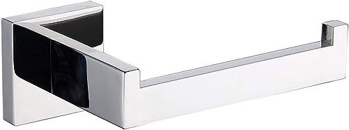 TASTOS Polished Chrome Toilet Paper Holder SUS304 Stainless Steel, Modern Square Half Open Bathroom 5 inch TP Holder ...