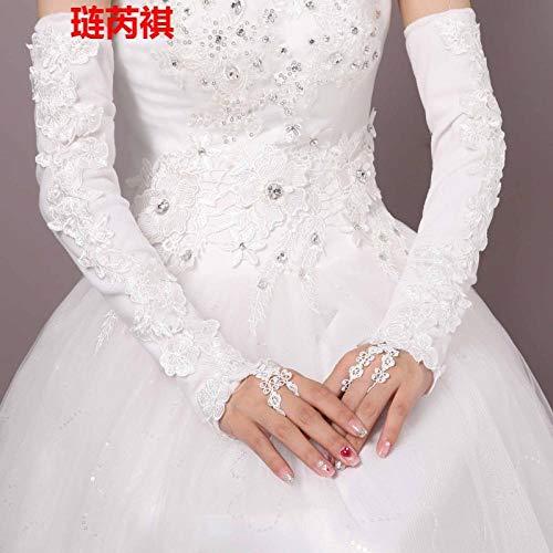 GBSTA Trouwhandschoenen Bruid trouwhandschoenen winter plus fluweel warm wit kant lange jurk trouwhandschoenen rood plus katoen verdikking