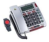 ELDAT Easywave Fon Alarm APF02, Hausnotruf Telefon mit Notrufarmband; schnurgebundenes Festnetztelefon mit Notrufknopf und Notruf Armband; Notruftelefon für Senioren; Seniorentelefon