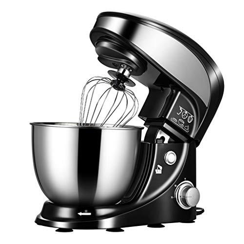 SWQG-Sartén Soporte Eléctrico Robots de Cocina Multifuncional Batidora Amasadora Repostería 4L Masa Blender con Tazón de Acero Inoxidable, K-batidor, Gancho Amasador, Bata, 1000W