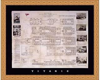 Framed Titanic Deck Plan- 30x24 Inches - Art Print (Ornate Gold Frame)