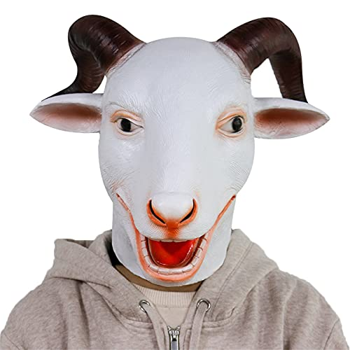 zxvc Neuheit Latex Kopf Maske Tier Vollkopf Antilope Ziege Schaf Häschen Kostüm Party Maske für Halloween Fancy Dress up Karneval Party