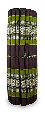 livasia Kapok Liegematte der Marke Asia Wohnstudio, 200cm x 110cm x 4,5cm; Rollmatte BZW. Yogamatte, Thaimatte, Thaikissen als asiatische Rollmatratze (braun/grün)