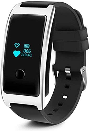 Recordatorio de información de llamada de reloj inteligente, reloj despertador, monitor de frecuencia cardíaca, podómetro, pulsera impermeable, diseño impermeable, fácil de usar, color negro plateado
