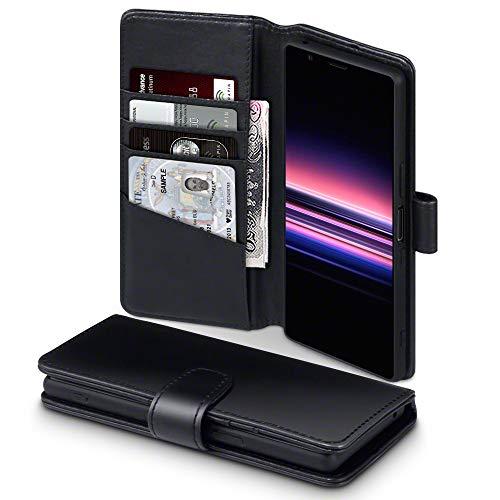 TERRAPIN, Kompatibel mit Sony Xperia 5 Hülle, [ECHT Leder] Brieftasche Case Tasche mit Standfunktion Kartenfächer & Bargeld - Schwarz