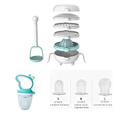 7 in 1 Baby Food Maker/Masher & Fresh Fruit Feeder Set with 3 Size Pouches (Blue)