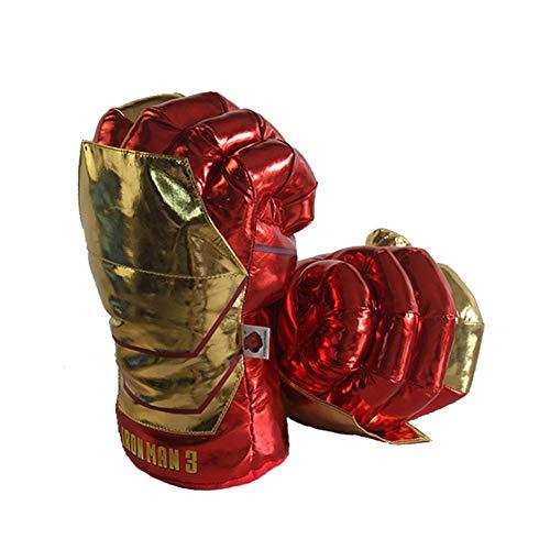 6P6 Spiderman Boxhandschuhe Grüne Faust Rote Spinne Iron Man Hulk Plüsch-Spielzeug-Boxhandschuhe,Rot