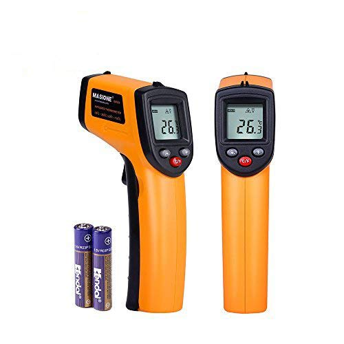 Masione Temperature Gun Non-contact Digital Laser Infrared Ir Thermometer -58°f to 716°f (-50 ~ 380℃) Instant-read Handheld,battery Included