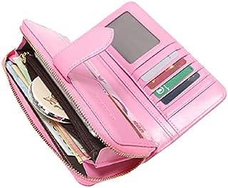 Women's Wallet,Wristlet RFID Card Holder Purse,Travel Genuine Leather Phone Clutch,Zip Around Luxury Money Organizers