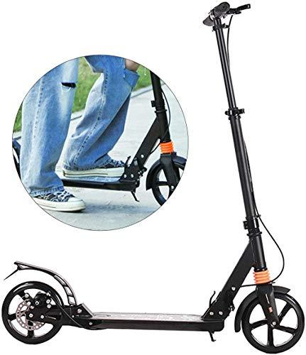 Scooter Plegable Altura Ajustable de la aleación de Aluminio para Adultos niños 120 kg Scooter con el Disco de Hoja de Mano Plegable Doble colaboración Junto a los viajeros Scooter