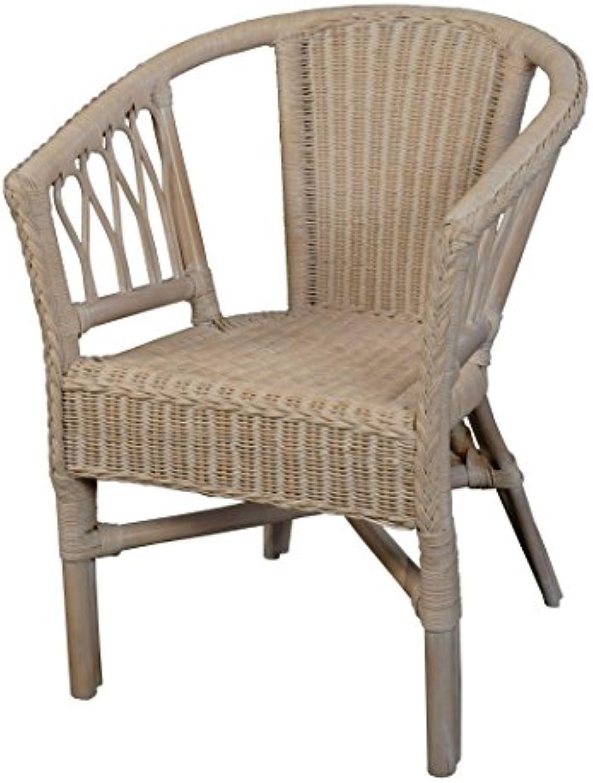 Korb.outlet Stapelbarer Rattansessel, Rattanstuhl Bistro-Sessel Balkonsessel in der Farbe Vintage Weiss