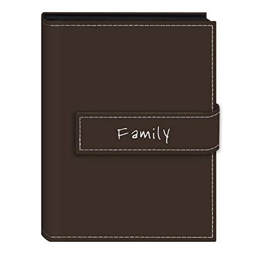 Pioneer Photo Albums EXP-57/BNF 36-Pocket 5 by 7-Inch Embroidered 'Family' Strap Sewn Leatherette Cover Photo Album, Mini, Brown