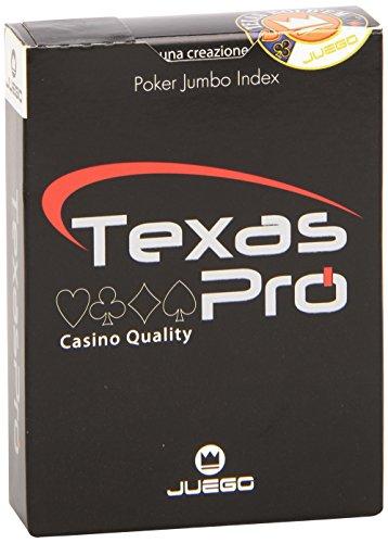 Juego- Carte da Gioco Texas Hold'em-100% Plastica, Colore Nero, JU90033
