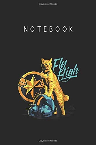 Notebook: Captain Marvel Symbol Goose Fly High Graphic Lined Pages Notebook White Paper Journal Notebook with Black Cover Medium Size 6in x 9in x 115pages for Kids or Men & Women Cute Cat