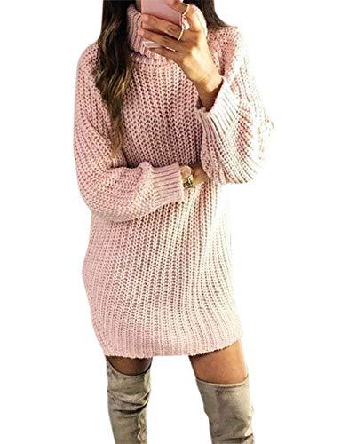 Aswinfon Collo Alto Maglione a Maglia Lunga da Donna Manica Lunga Pullover Sweater Autunno Inverno Lunghi Eleganti Maglioni (Rosa Style- 1, 2XL)