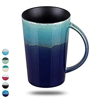 Oojdzoo Handmade Pottery Coffee/Tea Mug Polish - 16 oz Rustic Stoneware Ceramic Cup Clay Art  B
