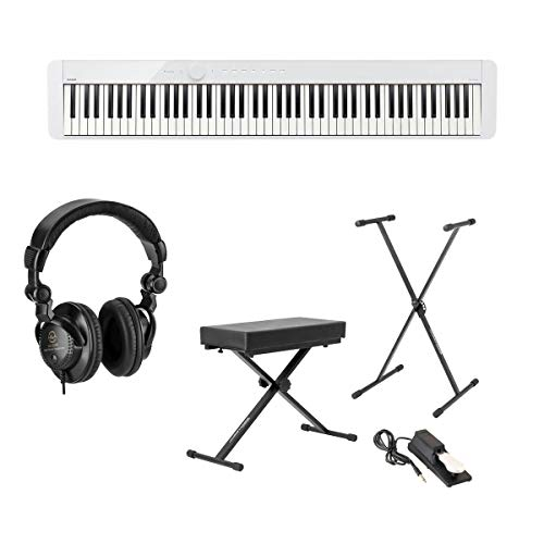 Casio PX-S1000 Privia 88-Key Slim Digital Console Piano with Headphones, Stand, Bench, and Pedal