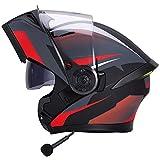 ZLYJ Bluetooth Moto Flip Up Full Face Modular Casco Integrado Motocicleta Antifogging Dual Lens Cascos Off-Road Motocross Caps Protectoras,Certificación ECE C,L