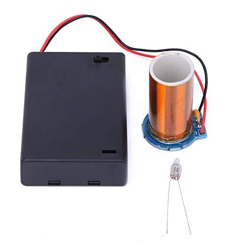 Tesla-Spule, Mini-Tesla-Spule für Trockenbatteriebetrieb, keine Lichtbogen-Fernzündung Tesla-Elektronik-Bausatz, kein Strom, kein Lichtbogen, nur Licht(fertig)
