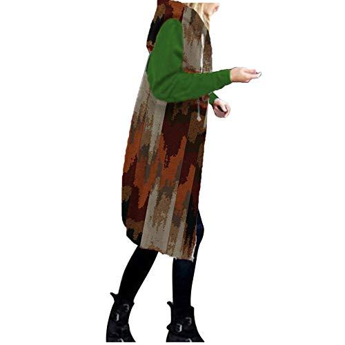 OverDose Damen Herbst Winter Outing Stil Frauen Warm Reißverschluss Clubbing Dating Elegante Hoodies Sweatshirt Langen Mantel Jacke Tops Outwear Hoodie Outwear Kapuzenpullover (X-Farbblock 10, 36)