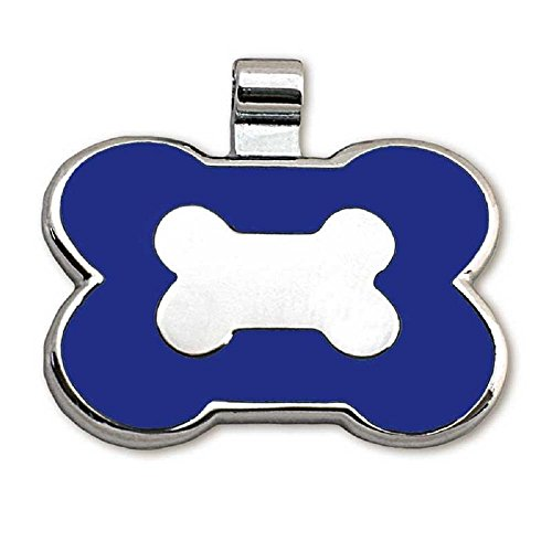 LuckyPet Pet ID Tag - Bone Shaped Jewelry Tag - Beautiful Enamel on Front - Custom Engraved on Back Side - Easy to Read Laser Engraving - Size: Large, Color: Blue