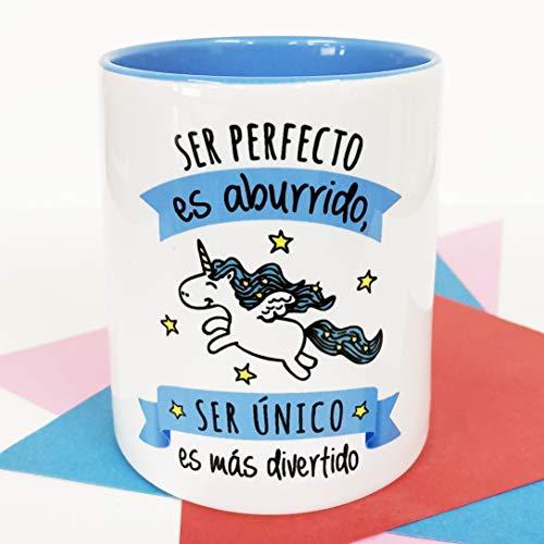La Mente es Maravillosa - Taza con Frase y dibujo. Regalo original y gracioso (Ser perfecto es aburrido, ser único es más divertido) Taza Diseño Unicornio