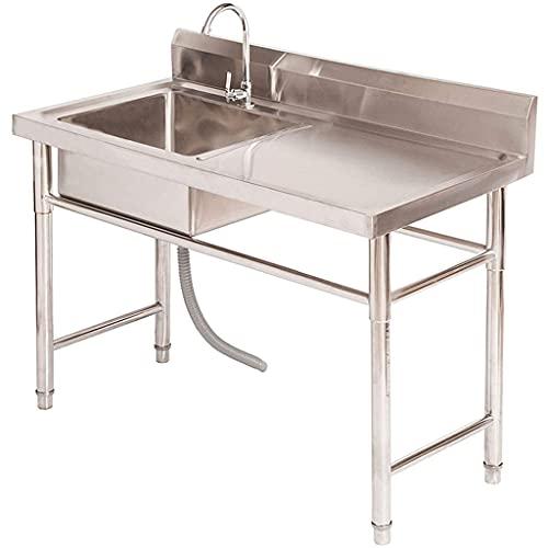 Kitchen Sinks Lavello da Cucina in Acciaio Inox Lavello a Vasca Singola con Rubinetto Lavello Commerciale Lavello per Interni Esterni Spessore 0,7 mm Facile da Pulire