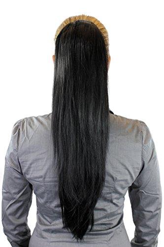 Postiche: Couette / queue de cheval volumineuse mais lisse, nouvelle attache avec mini pince papillon, noir, WK06-1B 65 cm
