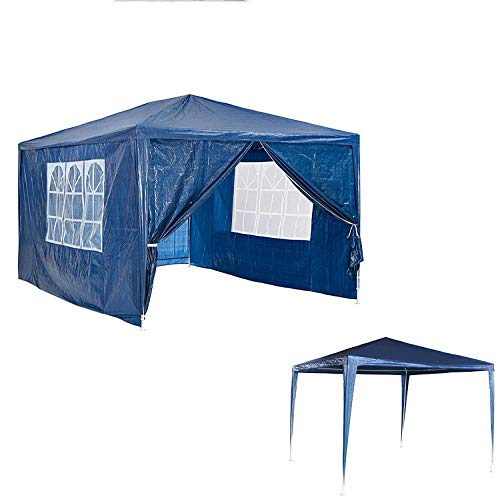 AutoBaBa 3x3m Garden Gazebo Marquee Tent with Side Panels, Fully Waterproof, Powder Coated Steel Frame for Outdoor Wedding Garden Party, Blue