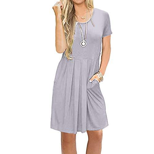 Newbestyle Sommerkleid Damen Tunika Tshirt Kleid Midikleid KurzarmPlissee Swing Blumen Strandkleid Sommerkleider Damen Knielang mit Taschen
